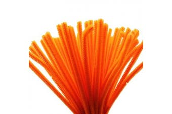 (Orange) - Caryko Super Fuzzy Chenille Stems Pipe Cleaners, Pack of 100 (Orange)