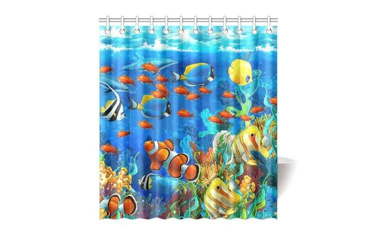 (170cm  x 180cm , D) - Winterby Custom Blue Ocean Tropical Fish Coral Undersea World Waterproof Fabric Bathroom Shower Curtain 170cm x 180cm
