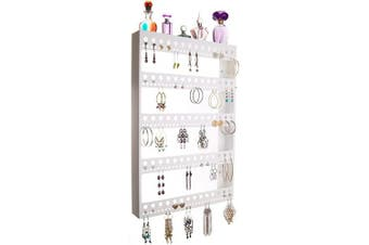 (Nichole 22x14.5 X-Large with Shelf, White) - Angelynn's Large Long Dangle Hoop Earring Holder Jewellery Organiser Wall Mount Hanging Display Closet Storage Rack Shelf, Nichole White