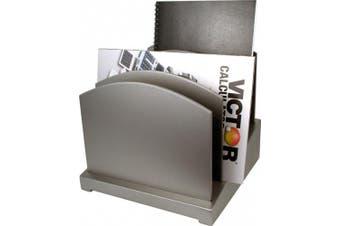 (silver) - Silver File Organiser - Wood Desk Organiser