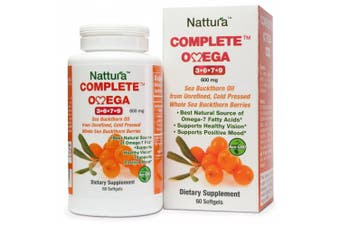 (1 Bottle (60 Capsules)) - COMPLETE OMEGA 3-6-7-9 * Highest Quality, Pure Sea Buckthorn Oil From Unrefined, Cold Pressed Whole Sea Buckthorn Wild Berries (600mg) 60 Softgels