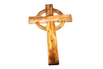 Celtic Holy Land Handmade Wall Olive Wood Catholic Cross - 25cm
