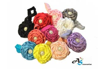 A & S Creavention® Baby Flower Blooming Chiffon Headband Bundle Set, Diamond (Mix 11)