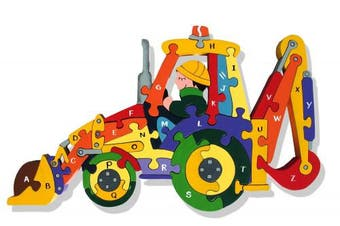 Alphabet Jigsaws Alphabet Backhoe Wooden Jigsaw Puzzle