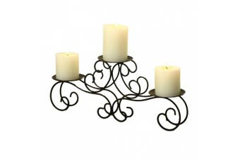 (3 Pillar Candles, Black) - 2015 JULY NEW Product!! Adeco Brown Bronze Iron Table Desk Top Candle Holder, Scroll Design, Fleur de Lis Layout, Vine shoot Base, Holds 3 Pillar Candles
