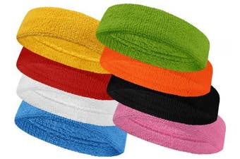 (Yellow) - Couver Baby Infant Terry Solid Colour Headband / Terry Cloth Head Band - 4pieces