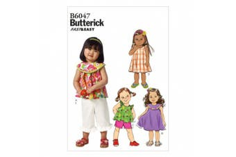 Butterick Patterns B6047 Toddlers' Top, Dress, Shorts and Pants Sewing Template, Size CCB