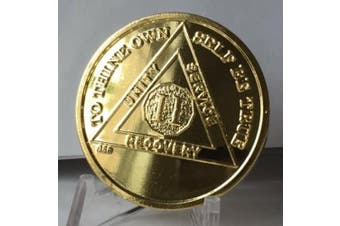 2 Year 22k Gold Plated AA Alcoholics Anonymous Sobriety Medallion Chip Serenity Prayer
