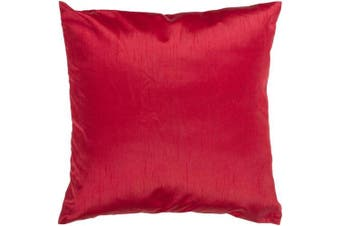 (down, 46cm  x 46cm .) - Surya HH-035 Hand Crafted 100% Polyester Red 46cm x 46cm Solid Decorative Pillow