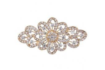 (Gold-Tone) - EVER FAITH 10cm Bridal Flower Ribbon Brooch Clear Austrian Crystal