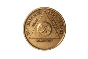 10 Year Bronze AA (Alcoholics Anonymous) - Sober / Sobriety / Birthday / Anniversary / Recovery / Medallion / Coin / Chip