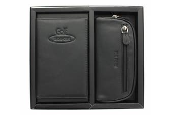 (Black) - Golf Gift Set With Leather Scorecard Holder And Tee Peg Bag