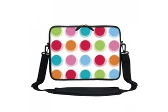 (Rainbow Dot) - Meffort Inc 13 34cm Neoprene Laptop / Ultrabook / Chromebook Bag Carrying Sleeve with Hidden Handle and Adjustable Shoulder Strap - Rainbow Dot