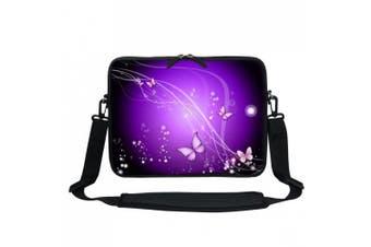 (Purple Swirl Butterfly) - Meffort Inc 13 34cm Neoprene Laptop / Ultrabook / Chromebook Bag Carrying Sleeve with Hidden Handle and Adjustable Shoulder Strap - Purple Swirl Butterfly
