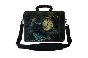 (Clock Butterfly) - Meffort Inc® 17 44cm Neoprene Laptop Bag Sleeve with Extra Side Pocket, Soft Carrying Handle & Removable Shoulder Strap for 41cm - 44cm Size Notebook Computer - Clock Butterfly Design