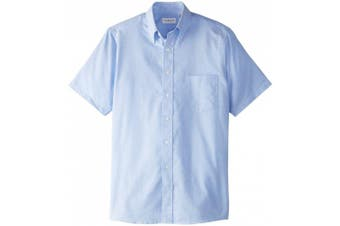 (Small, Blue) - Van Heusen Men's Short-Sleeve Oxford Dress Shirt