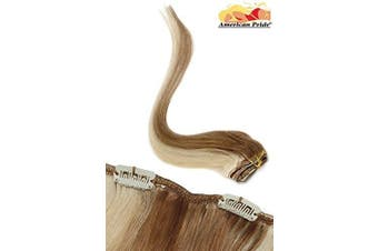 Single Weft | Clip in Hair Extensions | 6 clips | Human Hair Extensions 46cm Brownie Blonde Blend Highlights (10/22) American Pride