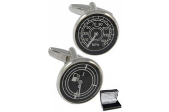 Collar and Cuffs London - Sporty Speedometer and Petrol Gauge Executive Cufflinks - Perfect For Car Lovers - High Quality Solid Brass - Silver, Black and White Colours - Presentation Gift Box Included - Speedo - Fuel