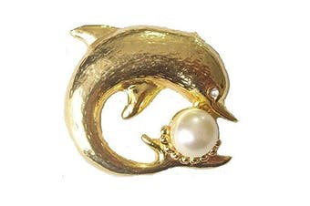 Gold Finish Dolphin Pearl Crystal Vintage Antique Brooch Pin Fancy Dress Party Jewellery For Women