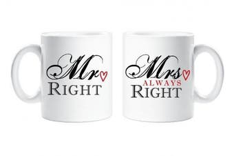 Mr Right Mrs Always Right Couple Mug Novelty Set Engagement Present Wedding Anniversary Gift Cup Ceramic