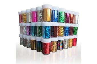 XICHEN® 24PCS Nail Art Stickers Tips Wraps Foil Transfer Adhesive Glitters Acrylic DIY Decoration 24 Colours 4CM*100CM