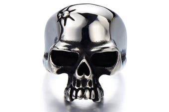 (W) - Stainless Steel Mens Gothic Biker Jewellery Skull Ring Oxidised Black 29mm Size 9 to 13.5