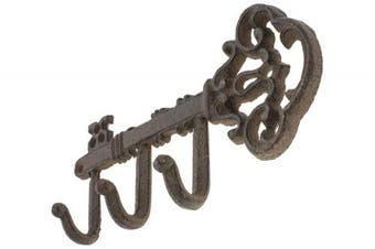 (Vintage CA-1504-18-BR) - Decorative Wall Mounted Key Holder | Vintage Key With 3 Hooks | Wall Mounted | Rustic Cast Iron | With Screws And Anchors By Comfify (Vintage CA-1504-18-BR)