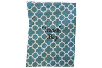 Caught Ya Lookin' Stinky Wet Bag, Teal Quatrefoil