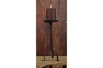 Primitive Black Pillar Candle Holder, 30cm Tall, 10cm Candle Plate