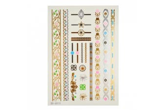 (TA021) - Metalic Gold / Silver Temporary Tattoos, Shimmer Tattoo, Chain Floral