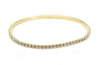 """GOLDEN ONE LINE ANKLET"" CRYSTAL DIAMANTE BRIDAL/PROMS/PARTIES ANKLET/PAYAL FOOT JEWELLERY **HOT** DESIGN - 1 ANKLET BY TRENDZ"