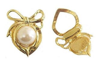 Ladies Vintage Antique Victorian Gold Pearl Bow Fashion Scarf Scarve Clip Accessories