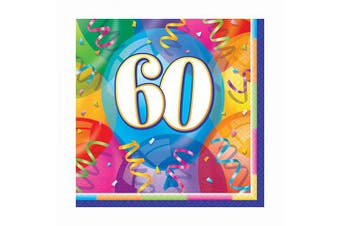 (60th Paper Napkins) - Unique Party 11375 - Brilliant 60th Birthday Paper Napkins, Pack of 16