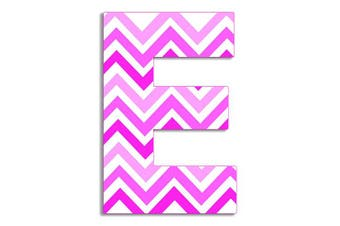 (E) - The Kids Room by Stupell Tri-Pink Chevron Hanging Wall Initial, E, 46cm