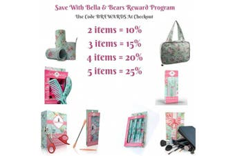 """Makeup Bag By Bella & Bear, The """"Glam"""" Travel Makeup Bag Features 4 Clear Zipped Pockets And A Handy Hook For Ease of Hanging. This Cosmetic Bag Makes A Great Gift Idea For Her"""
