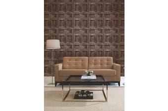 (1, Brown) - Brewster FD31055 Wood Panel Wallpaper - Chocolate