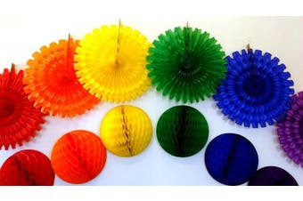 Large Rainbow Honeycomb Decoration Kit (6 Balls and 6 Fans)
