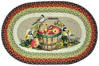 Earth Rugs 65-426AC Apple Chickadee Oval Design Rug, 50cm by 80cm , Braided, Burgundy/Sea Foam Green