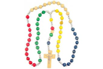 Multi Colour 6MM Wooden Prayer Bead 15 Inch Rainbow Mission Rosary
