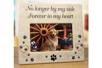 Pet Memorial Ceramic Picture Frame - No Longer By My Side Forever in My Heart - Loss of a Pet Gift - Pet Photo Frame - Pet Sympathy Gift - In Memory of a Pet