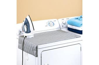 Houseables Ironing Mat, Magnetic Laundry Pad Blanket, 80cm x 48cm , Grey, Quilted, Washer Dryer Heat Resistant Pad, Iron Board Alternative Cover