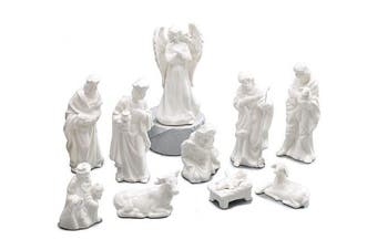 10 Piece White Porcelain Miniature Nativity Figurine Set Beautiful Christmas Decor