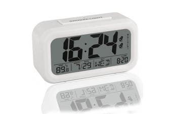 Peakeep Simple Settings Digital Alarm Clock Battery Operated with Dual Alarms and Snooze Function - Travel Alarm Clock and Home Alarm Clock - Optional Weekday / Everyday Alarm and Smart Night Light