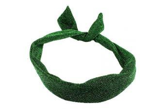(Green) - Green Glitter Wire Headband Headscarf Rockabily