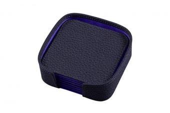 (Purple) - Lucrin - Set of 6 square coasters - Purple - Granulated Leather