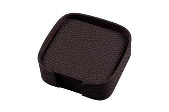 (Burgundy) - Lucrin - Set of 6 square coasters - Burgundy - Granulated Leather