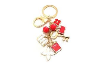 Ladies Girls Gold Tone Red Flower Handbag Charm Keyring Gift Key Ring Chain