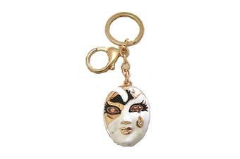 Women Gold Tone Black White Face Crystal Tear Drop Handbag Charm Keyring Gift Key Ring Chain