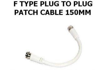 F Type Connector Patch Cable Lead Plug To Plug 150Mm