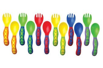 Nûby 5253 Starter Learn-to-Eat Cutlery Set for Children Aged 9 Months or Over Assorted Colours Selected at Random